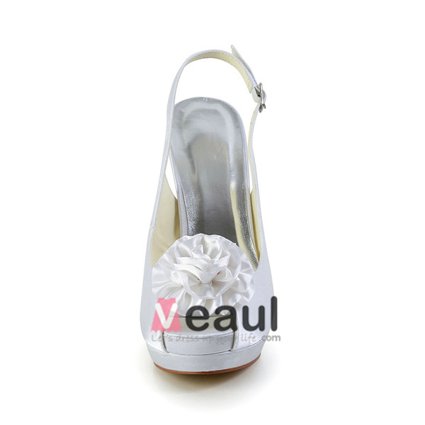 White Bridal Shoes Slingbacks Stilettos High Heel Platform Peep Toe With Flower