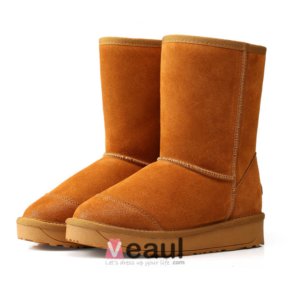 2015 Women's Printing Cowhide Mid-calf Winter Snow Boots