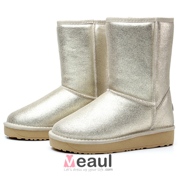 Sparkly Light Leather Mid-calf Gold Winter Snow Boots