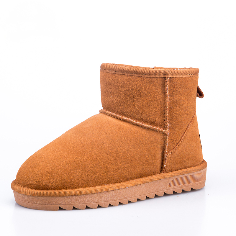 Women's Classic Cowhide Ankle Winter Snow Boots