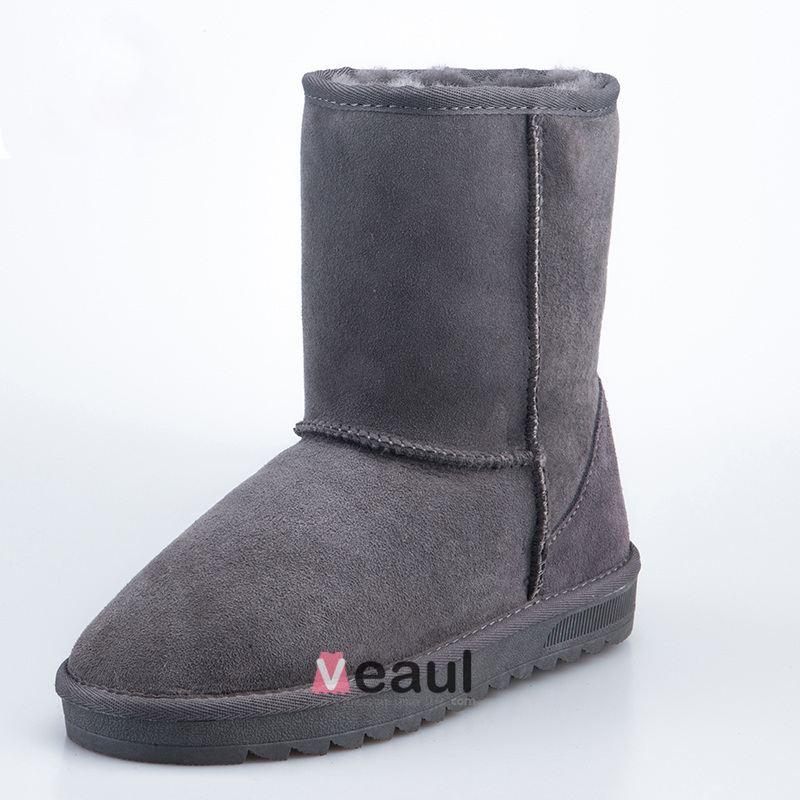 Women's Classic Cowhide Mid-calf Winter Snow Boots
