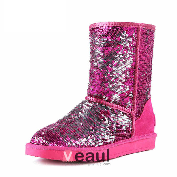 Women's Sparkly Fuchsia Sequins Mid-calf Winter Snow Boots