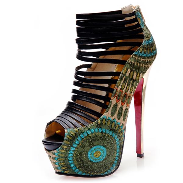 2016 Fashion Peep Toe Stiletto Platform Peacock Super High Heels Sandals