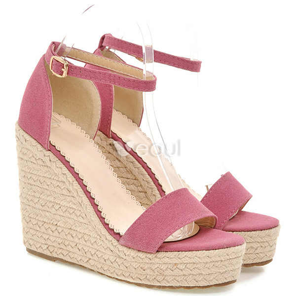 Beautiful Pink Sandals Wedge Heel 12cm High Heel Womens Shoes With ...