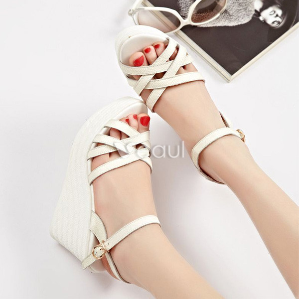 Beautiful White Sandals Wedge Heel 3 Inch High Heel Womens Shoes With Slingbacks
