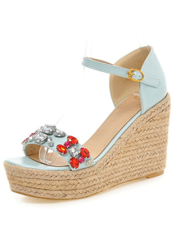 Fashion Blue Sandals 4 Inch High Wedge Heel With Ankle Strap Platform Shoes