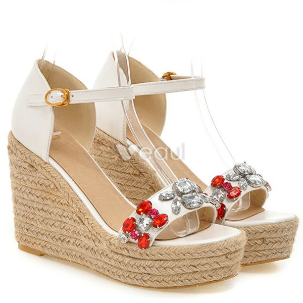 Fashion Blue Sandals 4 Inch High Wedge Heel With Ankle Strap ...