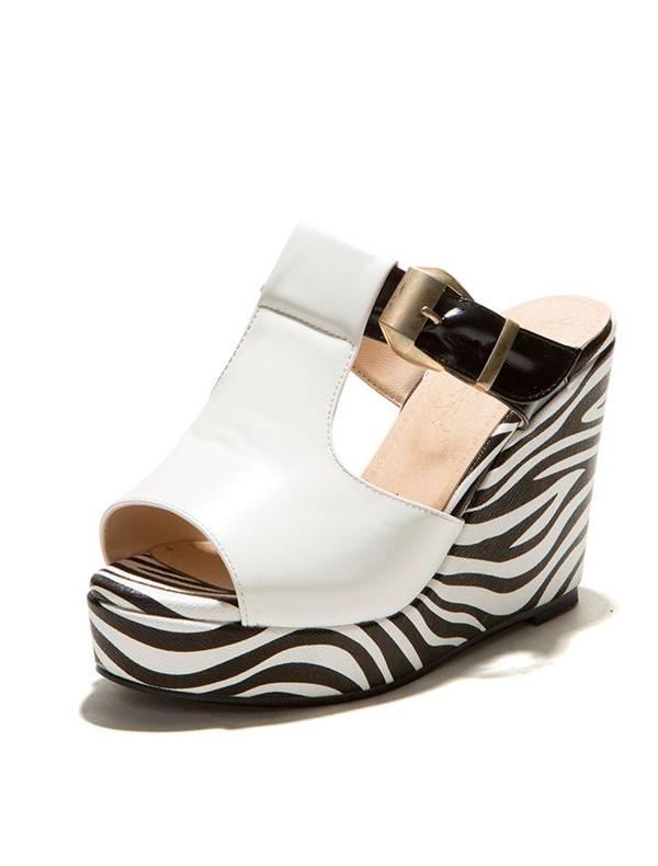 fashion sandals 10cm high wedge heel zebra pattern