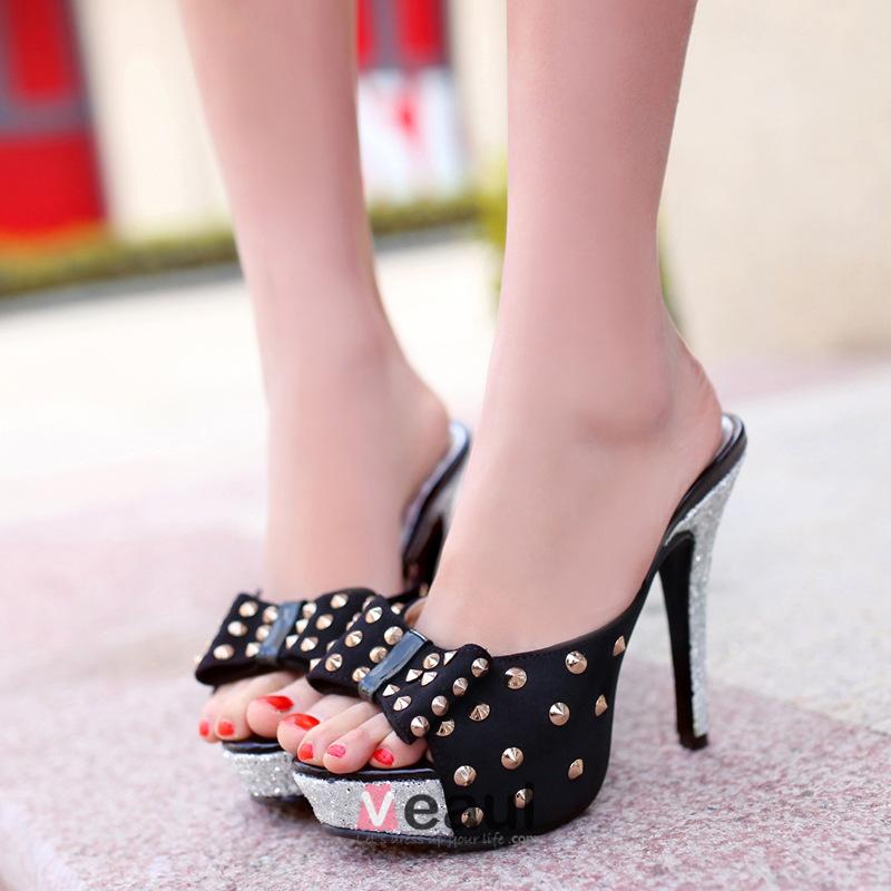 Metal Rivets Bow Platform Stiletto Heels / Sandals Slipper