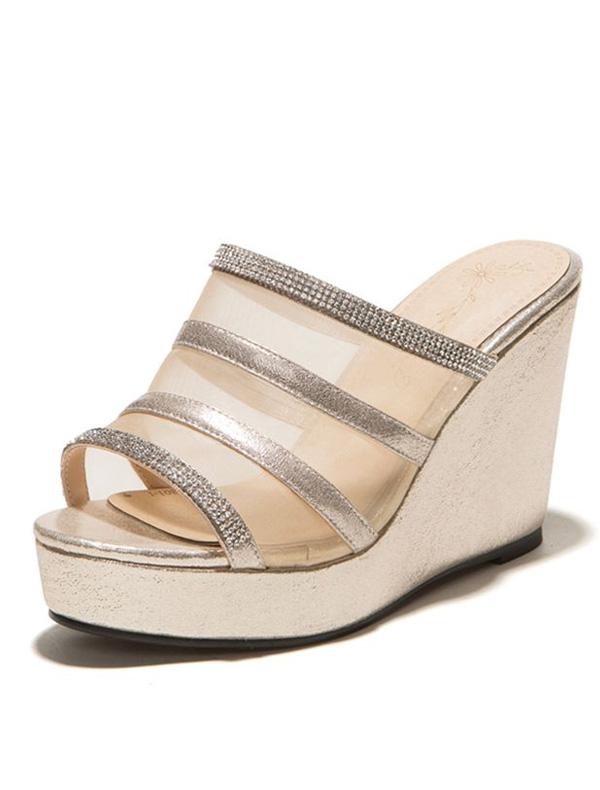 sparkly gold sandals wedge heel 4 inch high heel womens