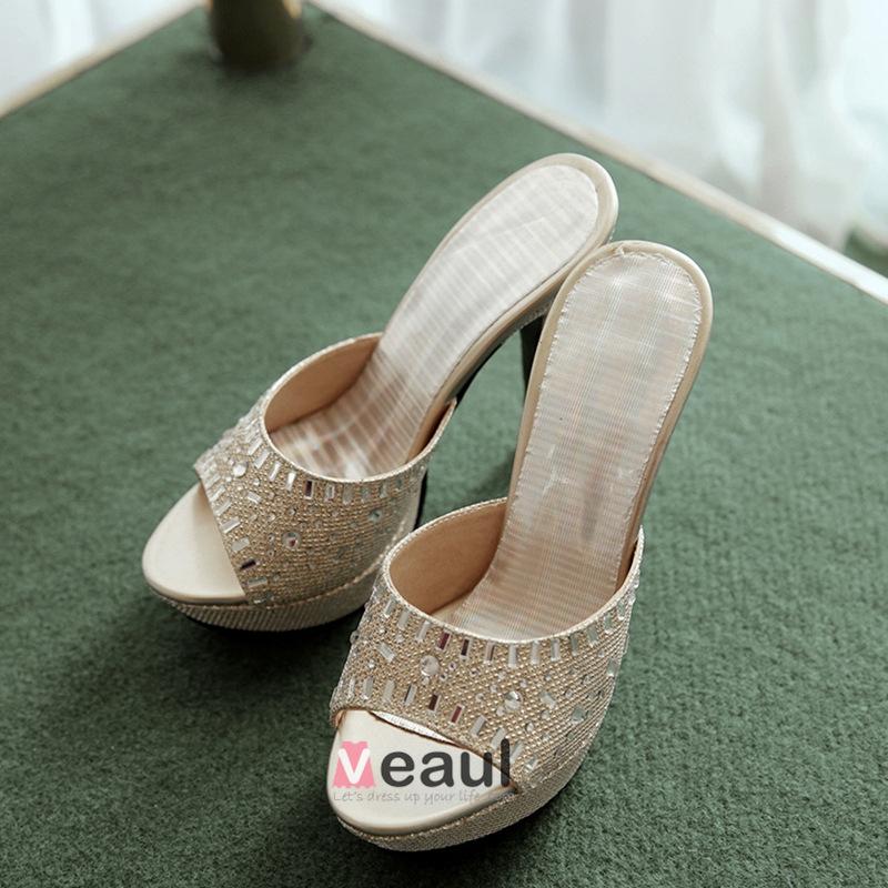 Sparkly Peep Toe Beading Rhinestone Platform Stiletto Sandals