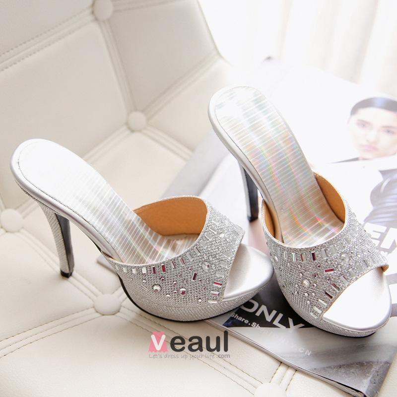 Brillantes Peep Toe Sandalias De Tacón De Aguja Beading Plataforma De Diamantes De Imitación