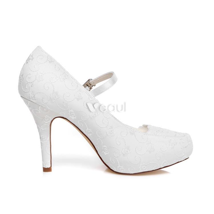 Bombas Elegantes Zapatos Blancos De La Boda Tacones De Aguja Zapatos De Novia Bordada De Satén