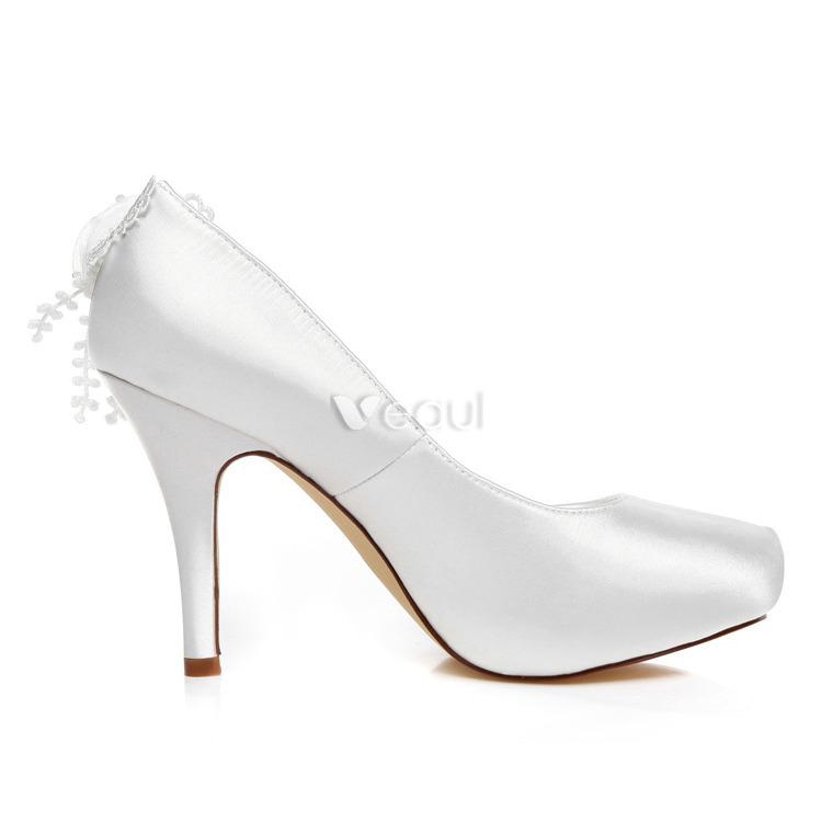 Hermosas Bombas De Los Zapatos Blancos De La Boda 10 Cm Tacones De Aguja Zapatos De