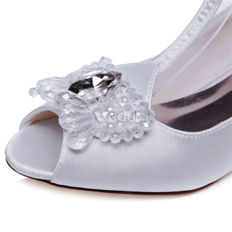 Zapatos Blancos De Boda Hermosa 5cm Pequeñas Bombas De Tacón Zapatos De Novia De Raso