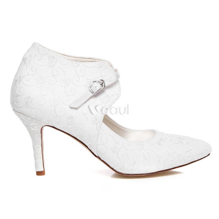 Zapatos De Novia De Encaje Elegante Tacones De Aguja Zapatos Blancos De La Boda Botines