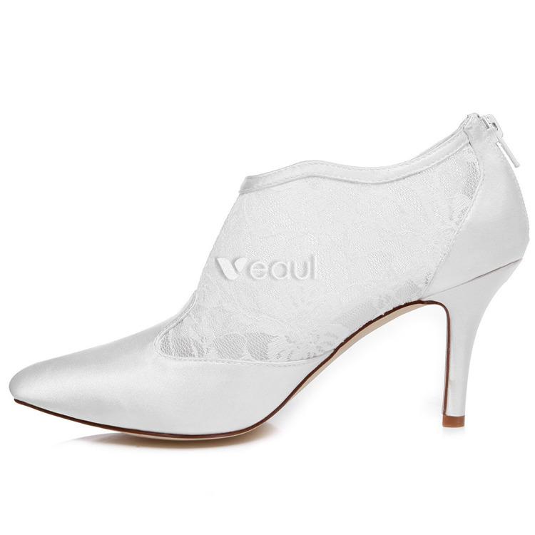 Zapatos De Novia De Encaje Elegante Tacones De Aguja Zapatos Blancos De La Boda