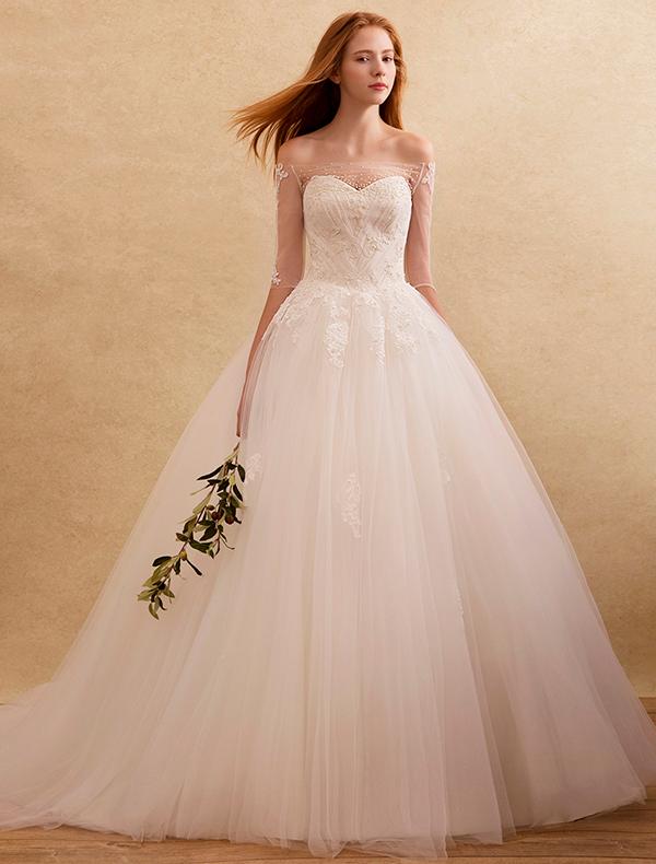 elegante Brautkleider 2016 weg von der Applikation Spitze Schulter ...