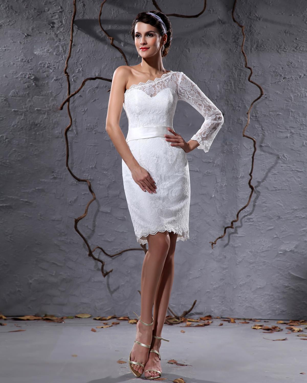 ... Einem Ärmel Knielange Kurz Brautkleider Mini [1614120019] - Veaul.com