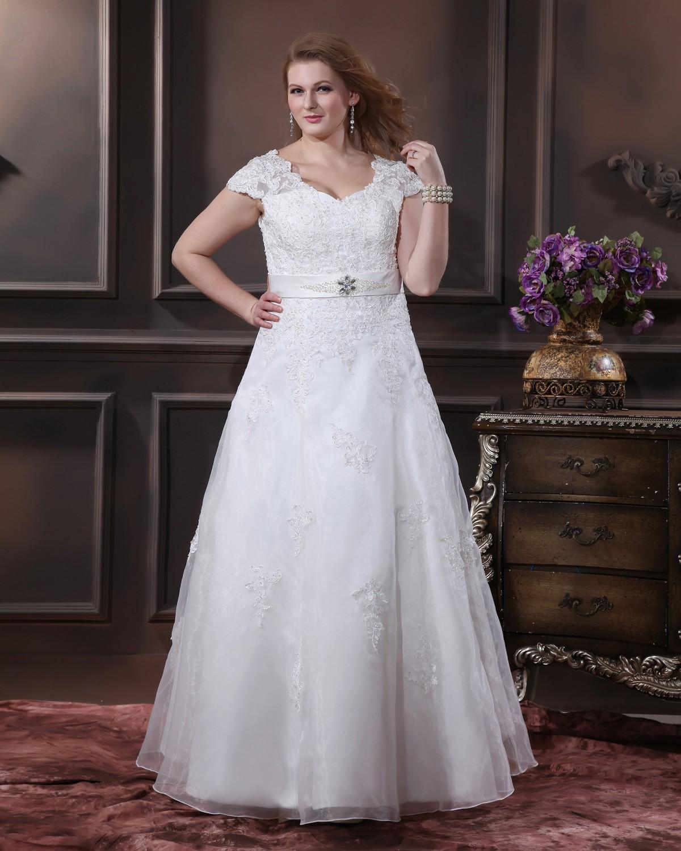 Brautkleider-Brautkleider-Große-Größen-Garn-Applique-Sicke-V ...