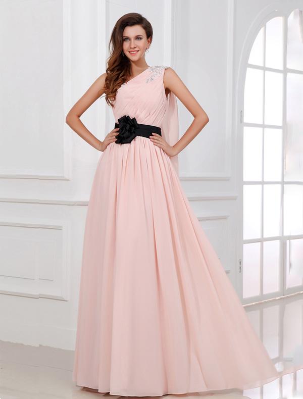 sch ne rosa abendkleid lang eine schulter festliche kleider mit blume sch rpe. Black Bedroom Furniture Sets. Home Design Ideas