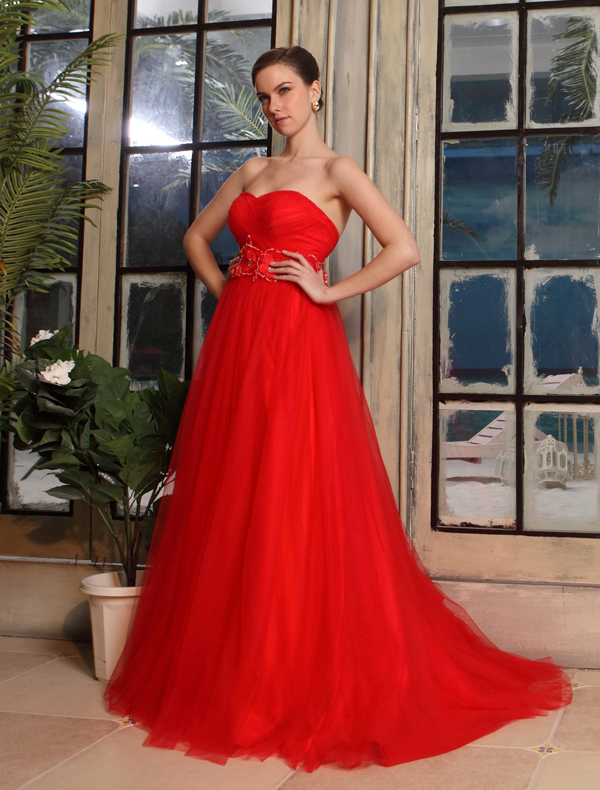 ... Sweetheart Fleurs Ceinture Robe De Mariée En Tulle Rouge Enceinte
