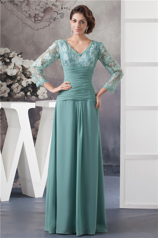 Elegant V Neck Lace Sleeves Pleated Long Dress Mother Of The Bride ...