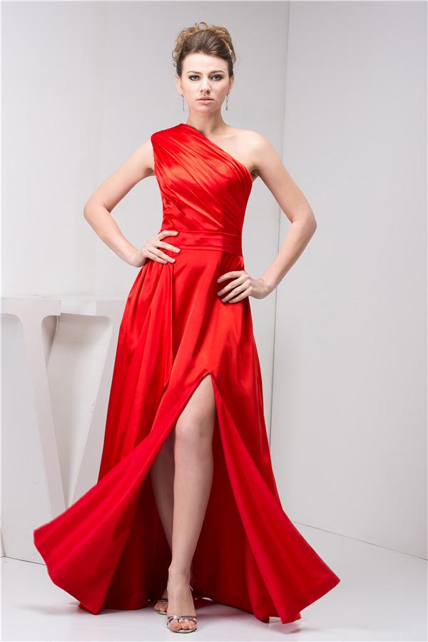 Red one shoulder long evening dress