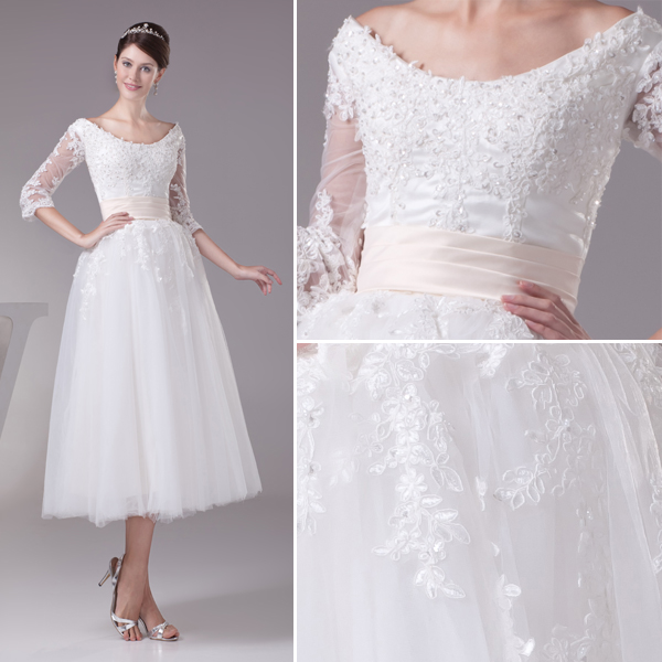 Charming Ball Gown Scoop Neck Lace Sleeves Tea Lenght Wedding ...
