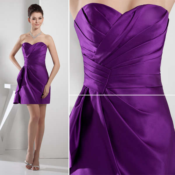 2015 Chic Sweetheart Strapless Ruffles Mini Short Purple Cocktail ...