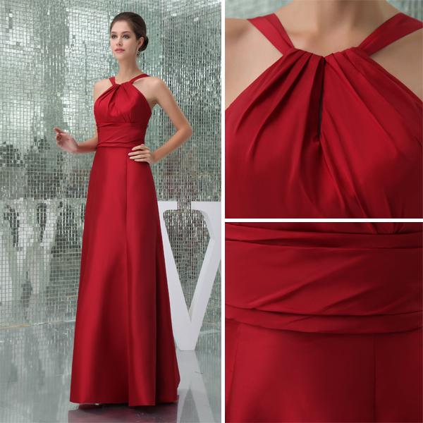 2015 Einfache Empire Halter Spaghetti trägern Red Brautjungfern Kleid
