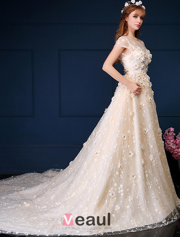 Beautiful Ball Gown Lique Flowers Lace Wedding Dress Wtih Sequins A Line Princess Dresses