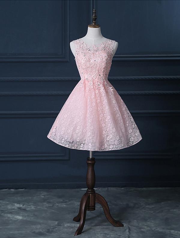 Piękna Różowa Sukienki Koktajlowe Krótkie Koronkowe Sukienki ...