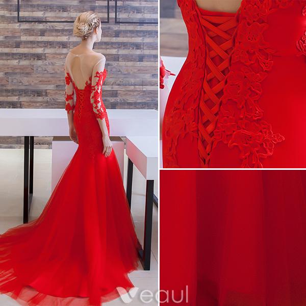 Kleid rot ruckenfrei