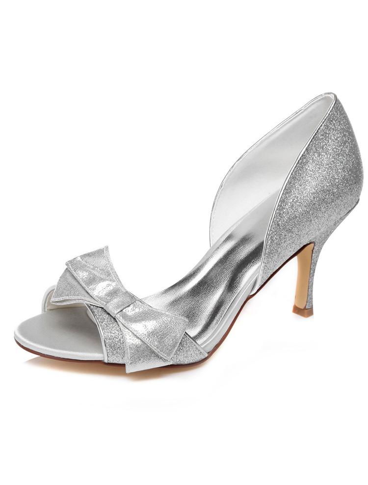 scintillant argent sandales de mariage escarpins talons aiguilles peep toe chaussures de marie paillettes - Escarpin Argent Mariage