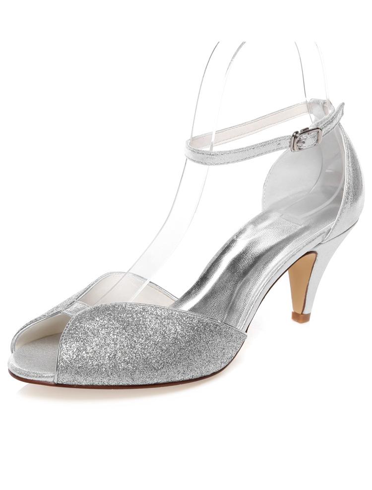 sparkly sandales de mariage peep toe argent glitter chaussures de mariage talon aiguille avec. Black Bedroom Furniture Sets. Home Design Ideas