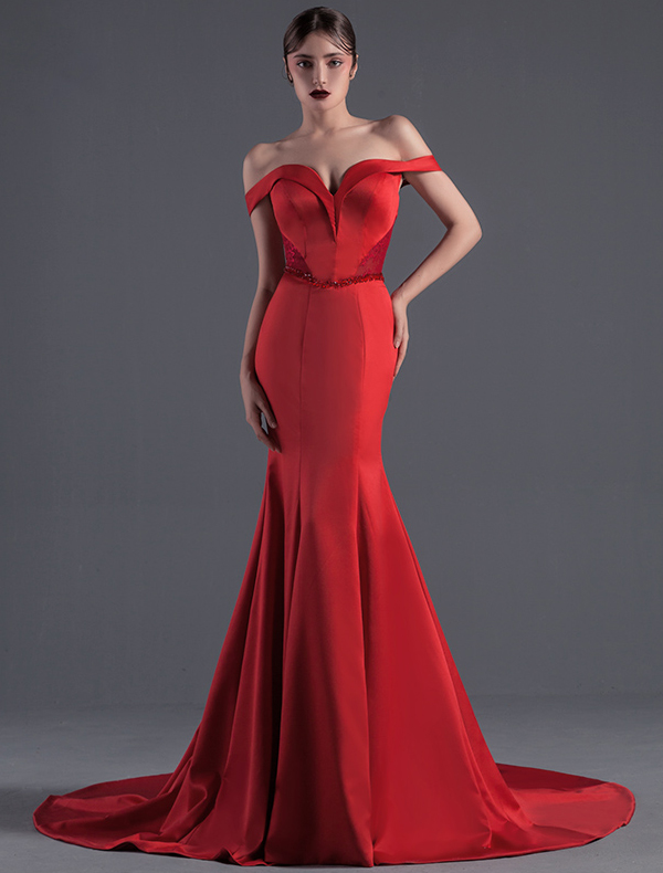 Red satin evening dresses
