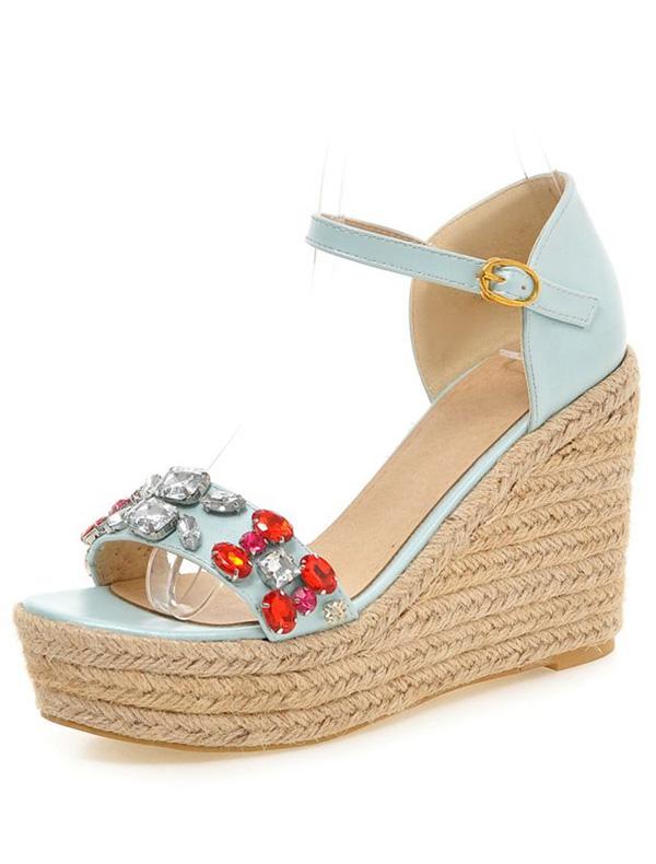 mode blauen sandalen 10cm hohe keilabsatz mit fesselriemen. Black Bedroom Furniture Sets. Home Design Ideas