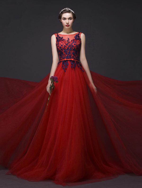 ... linie Ärmel Applikation Königsblau Spitze Rot Tüll Langes Kleid