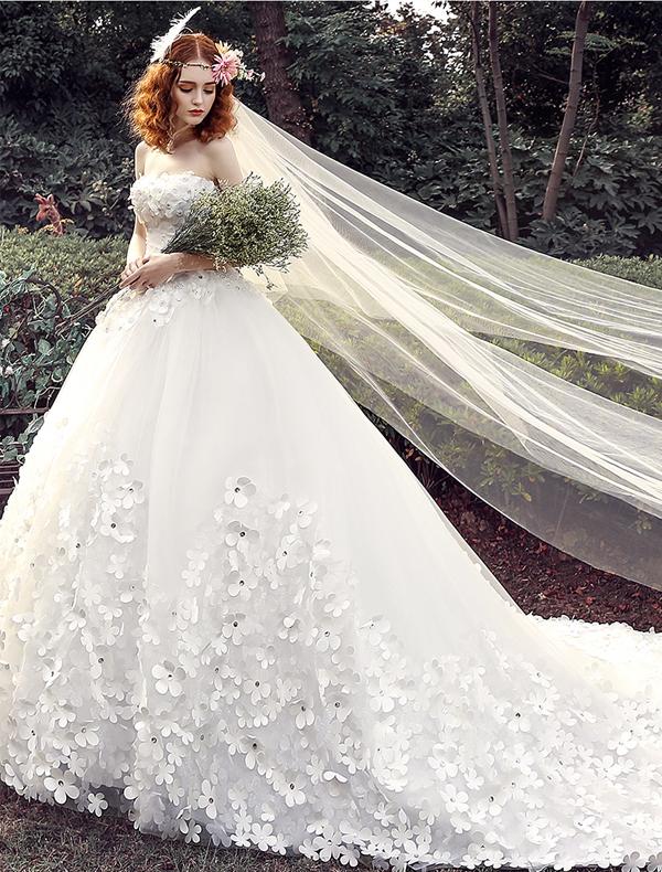 Hochzeitskleider 2016 Ballkleid Applique Weißem Tüll Brautkleid Mit ...