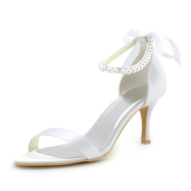 Chic Satin Bridal Sandals With Ankle Strap 3 Inch High Heels Stiletto Heels Pumps 411605012