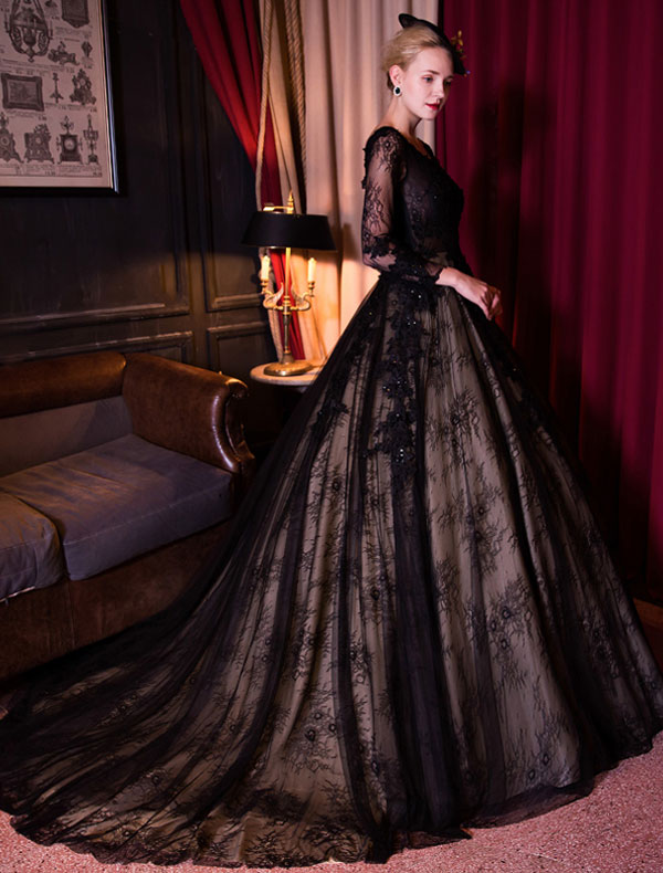 Elegant Prom Dress With Long Sleeves Black Lace Ball Gown 2017 ...