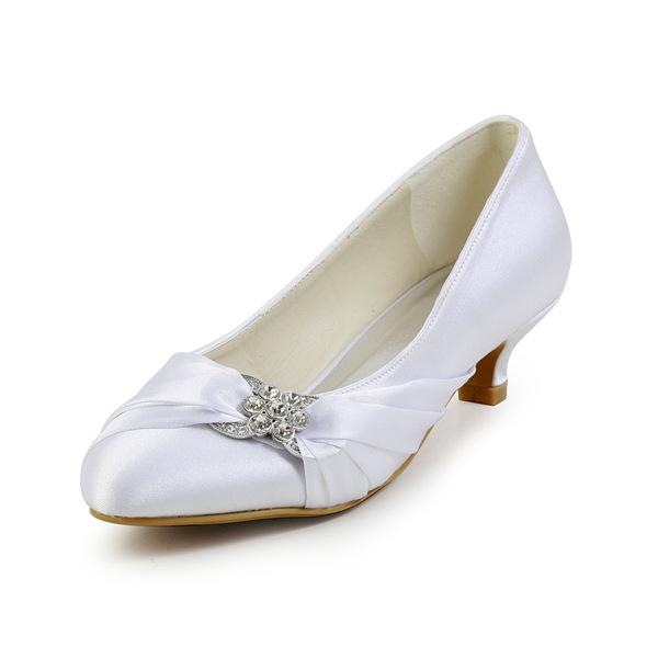 Elegant Pointed Toe Unique Accessories Ruffle White Satin Kitten Heels Wedding Shoes 411508012