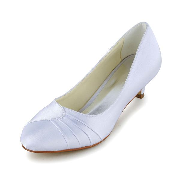 Simple Pointed Toe Ruffle White Satin Kitten Heels Pumps Bridal Wedding Shoes 411508017