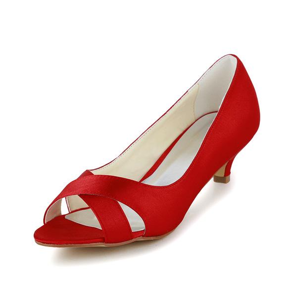 Simple Peep Toe Red Satin Kitten Heels Pumps Bridal Wedding Shoes ...