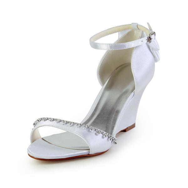 glamorous open toe mid wedges white satin sandals wedding