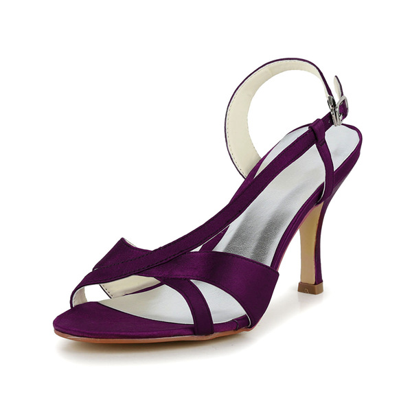 Glamorous Purple Formal Shoes Stiletto Heels Strappy Sandals With