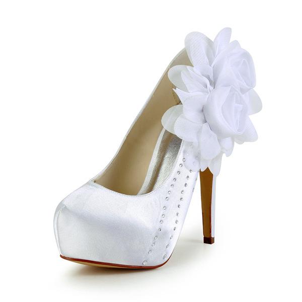 Elegant White Bridal Shoes Satin Stilettos Platform Pumps With Flowers 411508190