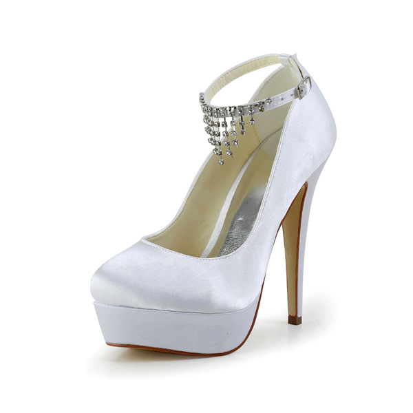 Elegant White Bridal Shoes Satin Stilettos Platform Pumps With