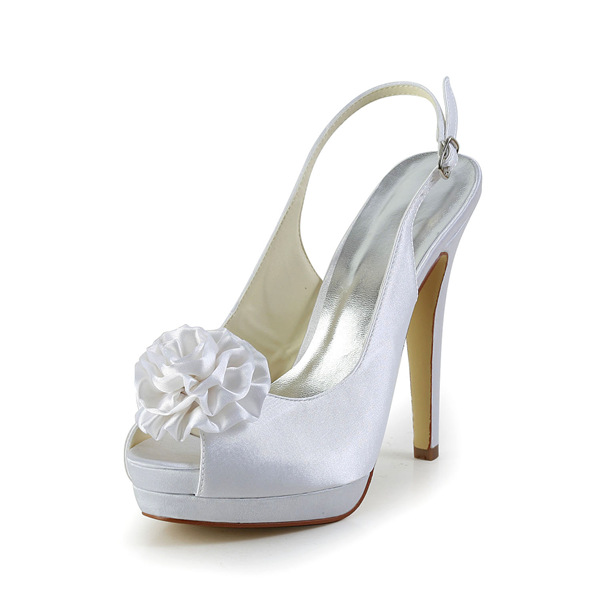 white bridal shoes slingbacks stilettos high heel platform
